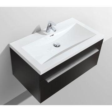 Aquila Wall-Hung Vanity Unit Single Drawer & Basin Combo with Overflow 895x475x440mm Black Wood