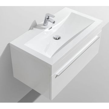 Aquila Wall-Hung Vanity Unit Single Drawer & Basin Combo with Overflow 895x475x440mm High Gloss White