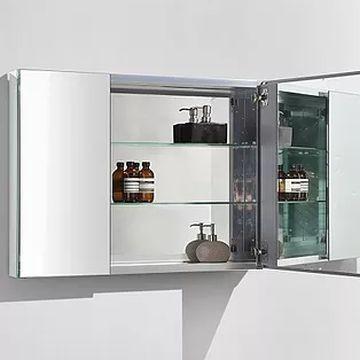 Mirror cabinet 2 door w glass shelves hinges alu for Ava bathroom furniture