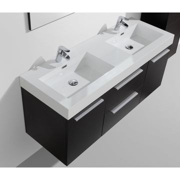 Novelli Wall-Hung Vanity Unit Single Door & Basin Combo with Overflow 1375x375x550mm Black Wood