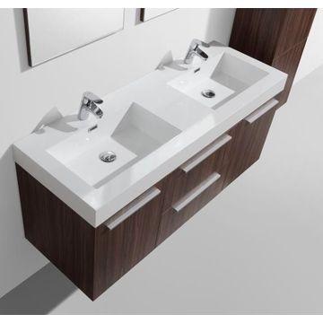Novelli Wall-Hung Vanity Unit Single Door & Basin Combo with Overflow 1375x375x550mm Walnut
