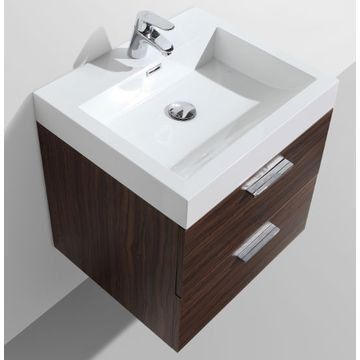 Trevi Wall-Hung Vanity Unit 2 Drawers & Basin Combo with Overflow 575x465x590mm Walnut