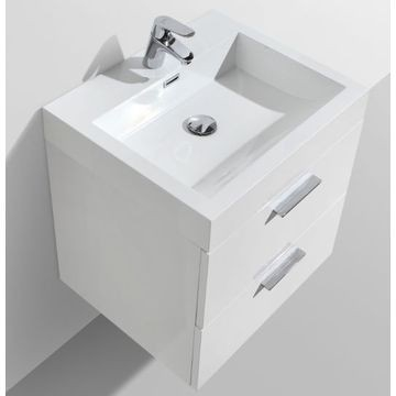 Trevi Wall-Hung Vanity Unit 2 Drawers & Basin Combo with Overflow 575x465x590mm High Gloss White