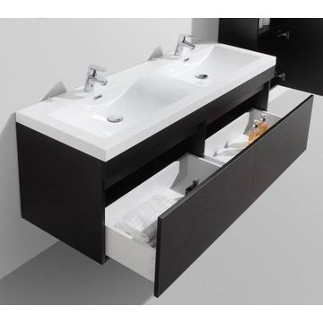 Vetto Wall-Hung Vanity Unit Single Door & Basin Combo with Overflow 1435x505x550mm Black Wood