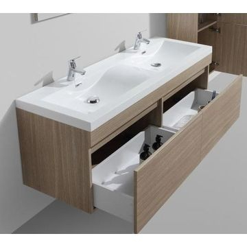 Vetto Wall-Hung Vanity Unit Single Door & Basin Combo with Overflow 1435x505x550mm Light Oak