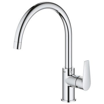 Grohe BauEdge Single-Lever Sink Mixer w/ C-Spout Chrome