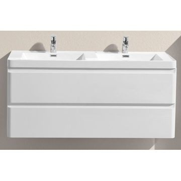 Milan 1200 Wall Hung Vanity Unit Double Drawer Basin Combo With Overflow 1200x480x550mm Gloss White Full Cabinet Plumb It