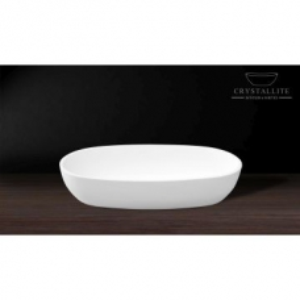 Luna Large Deep Countertop Basin 595 x 330 x 130mm Polished White - Crystallite