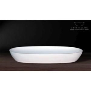 Luna Large Shallow Countertop Basin 595 x 325 x 95mm Polished White - Crystallite