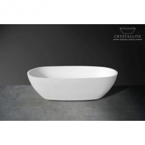 Rhea Freestanding Bath 1805 x 870 x 500mm White Polished White - Crystallite