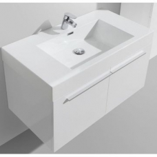 Avella Wall-Hung Vanity Unit 2 Door & Basin Combo with Overflow 895x475x550mm High Gloss White