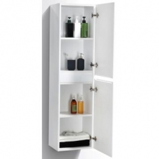 Milan Large Cabinet Wall-Hung Two Doors 350x300x1500mm White Gloss