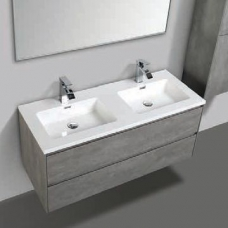Enzo 1200 Vanity Cabinet & Basin Wall-Hung Double Drawer 1200x480x500mm Concrete
