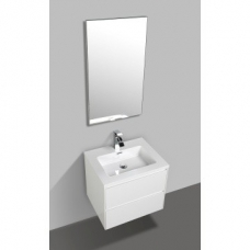 Enzo 600 Wall-Hung Double Drawer Vanity & Basin Combo 600x480x525mm Gloss White Full Cabinet