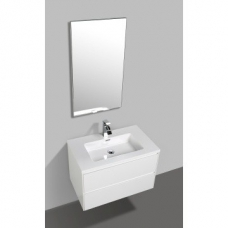 Enzo 800 Wall-Hung Double Drawer Vanity Cabinet & Basin 800x480x525mm Gloss White Full Cabinet