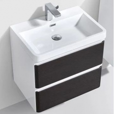 Milan 600 Wall-Hung Vanity Unit Double Drawer & Basin Combo with Overflow 600x420x550mm Chestnut ColorMix
