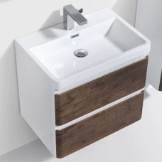 Milan 600 Wall-Hung Vanity Unit Double Drawer & Basin Combo with Overflow 600x420x550mm Rose Wood ColorMix