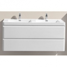 Milan 1200 Wall-Hung Vanity Unit Double Drawer & Basin Combo with Overflow 1200x480x550mm Gloss White Full Cabinet
