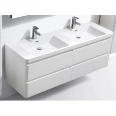 Milan 1500 Vanity Cabinet Wall-Hung Four Drawer & Basin Combo w/  Overflow 1500x480x550mm Gloss White Full Cabinet