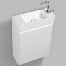 Milan 450 Wall-Hung Vanity Unit Single Door & Basin Combo w/ Overflow 450x182x550mm White Gloss Full Cabinet