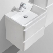 Milan 600 Wall-Hung Vanity Unit Double Drawer & Basin Combo with Overflow 600x420x550mm Gloss White Full Cabinet
