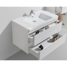 Milan 900 Wall-Hung Vanity Unit Double Drawer & Basin Combo with Overflow 900x480x550mm Gloss White Full Cabinet