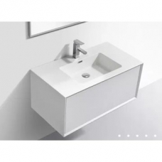 Modena Wall-Hung Vanity Unit Single Drawer & Basin Combo with Overflow 900x480x405mm Matt White ColorMix