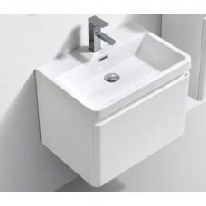 Milan 600 Wall-Hung Vanity Unit Single Drawer & Basin Combo with Overflow 600x420x450mm Gloss White Full Cabinet