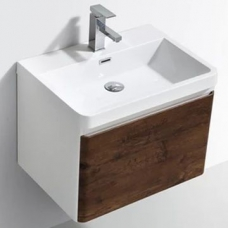 Milan 600 Wall-Hung Vanity Unit Single Drawer & Basin Combo with Overflow 600x420x450mm Rose Wood ColorMix
