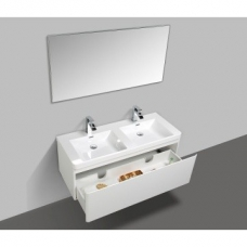 Milan 1200 Wall-Hung Vanity Unit & Basin Combo with Overflow 1200x480x450mm Gloss White Full Cabinet