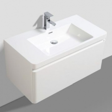 Milan 900 Wall-Hung Vanity Unit Single Drawer & Basin Combo with Overflow 900x480x450mm White Gloss Full Cabinet