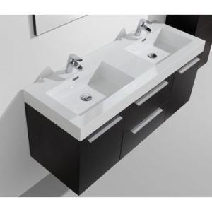 Novelli Wall-Hung Vanity Unit Single Door & Basin Combo with Overflow 1375x375x550mm Black Wood