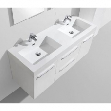 Novelli Wall-Hung Vanity Unit Single Door & Basin Combo with Overflow 1375x375x550mm High Gloss White