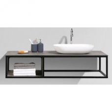 Picasso Vanity Shelf 1310x525x286mm Stone Ash Top & Black Iron Frame (Basin not Included)