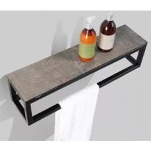 Picasso Iron Frame Vanity Shelf 600x150x150mm Stone Ash Top & Black Iron Frame