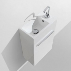 Tito Wall-Hung Vanity Unit Single Door & Resin Basin Combo with Overflow 395x215x630mm High Gloss White