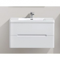 Venice 900 Wall-Hung Vanity Unit Double Drawer & Basin Combo with Overflow 900x480x550mm Gloss White Full Cabinet