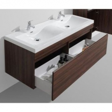 Vetto Wall-Hung Vanity Unit Single Door & Basin Combo with Overflow 1435x505x550mm Walnut