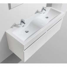 Vetto Wall-Hung Vanity Unit Single Door & Basin Combo with Overflow 1435x505x550mm High Gloss White