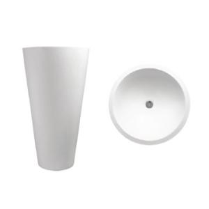 Annelie 820 Freestanding Round Pillar Basin 820x500x500mm Pearl White