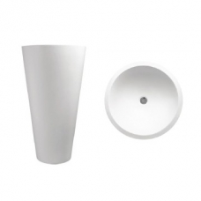 Annelie 820 Freestanding Round Pillar Basin 820x500x500mm Pearl White