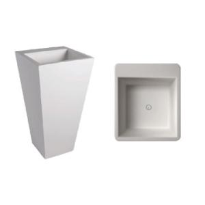 Edith 820 Square Freestanding Pillar Basin No Taphole 500x500x820mm Pearl White