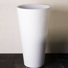 Annelie 820 Freestanding Round Pillar Basin w/ Taphole 820x500x500mm Pearl White