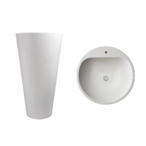 Annelie 820 Freestanding Round Pillar Basin w/ Taphole 820x500x500mm Pearl White