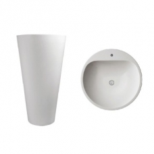 Annelie 910 Freestanding Round Pillar Basin w/ Taphole 910x500x500mm Pearl White