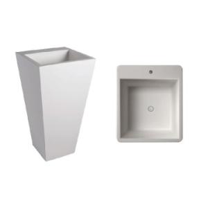 Edith 910 Square Freestanding Pillar Basin w/ Taphole 40kg 500x500x910mm Pearl White