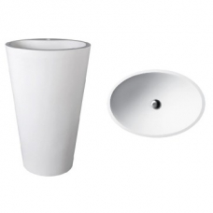 Mango 910 Freestanding Oval Pillar Basin No Taphole 580x400x910mm Pearl White