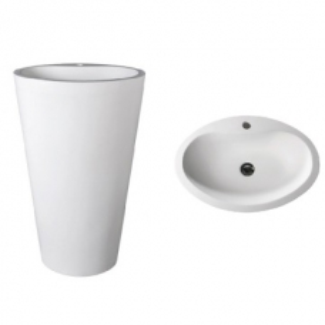 Mango 910 Freestanding Oval Pillar Basin w/ Taphole 580x400x910mm Pearl White