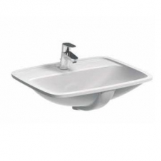 Geberit Abalona Semi-Recessed Basin with 2 Tap Holes 550mm x 440mm White
