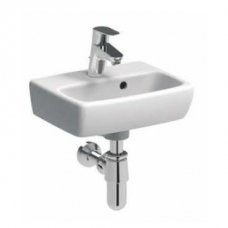 Geberit Abalona Square Wall-Hung Basin with 2 Tap Holes 360mm x 280mm White